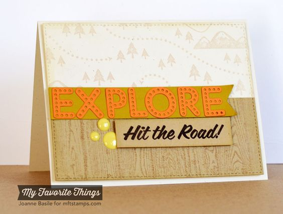 Enjoy the Journey, In the Wilderness, Wood Plank Background, Blueprints 13 Die-namics, Bright Lights Alphabet Die-namics - Joanne Basile #mftstamps