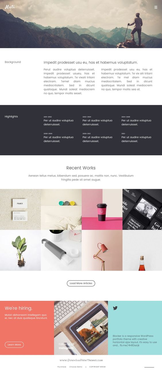 MUTI is a creative responsive WordPress #portfolio theme for the professional creative. This template is suitable for Architecture, Furniture, Photography, #Freelance service #website.