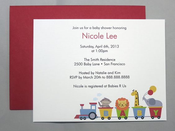 Animal Train A2 Flat Note Baby Shower Invitations by RatDogInk, $17.00