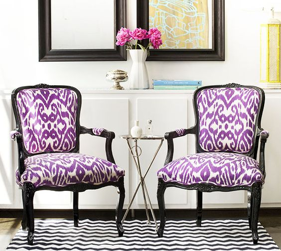 Unexpected and colorful // ikat: Ikat Pattern, Ikat Fabric, Ikat Print, Livingroom, Living Room, Ikat Chairs, Purple Chair, Purple Belt