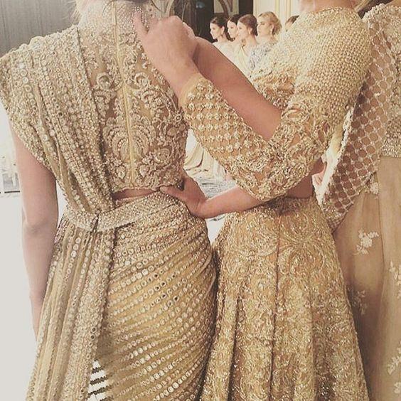 Stunning Faraz Manan Gold Embellished #Lehenga & #Saree.