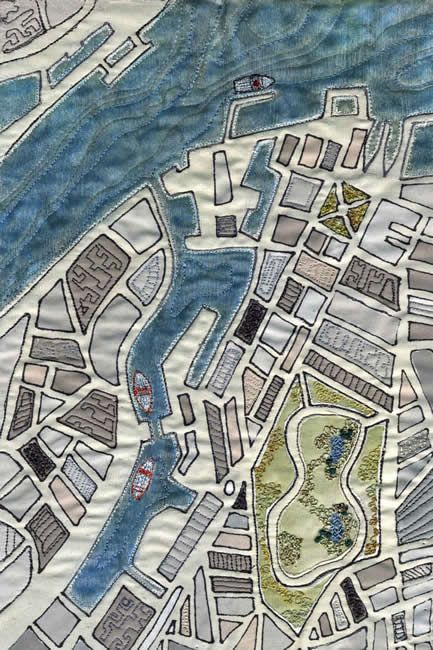 Birkenhead Docks by Mary Bryning I have a dream to do a textile map of the Manukau Harbour NZ - this is a great inspiration
