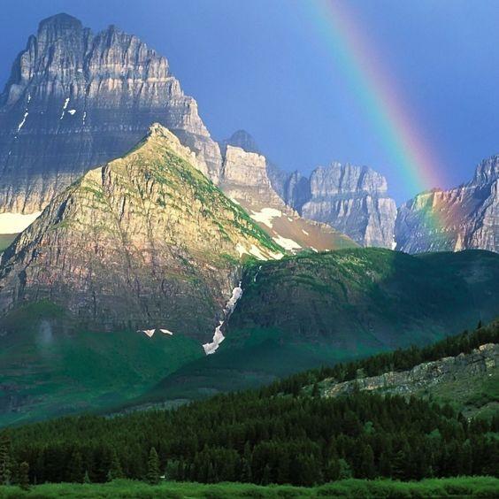 2048x2048 Papéis de Parede do arco-íris, montanhas, madeira, verde