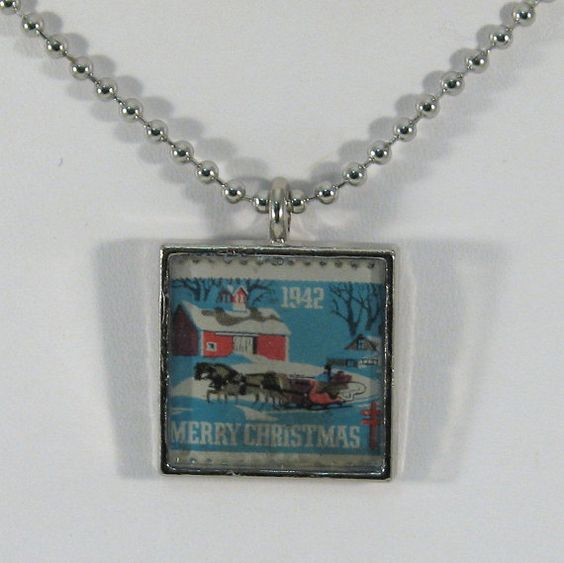 Vintage 1942 American Lung Assoc Holiday Stamp Pendant by 12be, $14.50