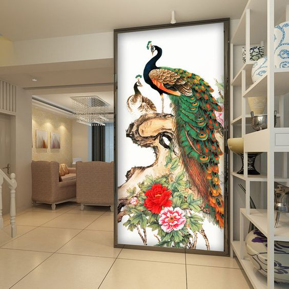 Vintage peacock wallpaper peony flower wall mural 3d photo for 3d wall mural painting