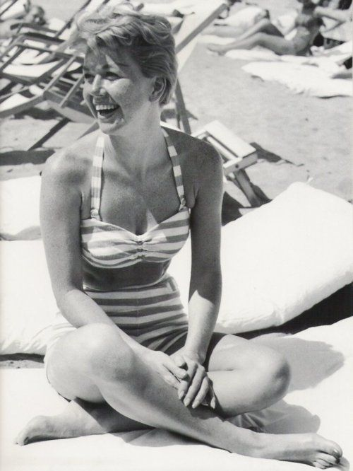 Doris Day on the beach in Cannes: