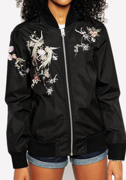 Front view of model in black floral embroidered jacket | outfits ...