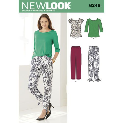 New Look Pattern 6246 Misses' Tapered Ankle Pant and Knit Top: