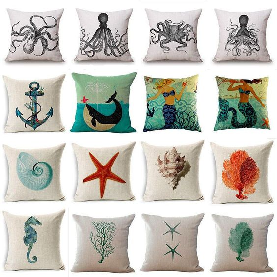 Lovely Ocean Creatures Cotton Linen Square Throw Pillowcase Cushion Pillow Cover #Unbranded