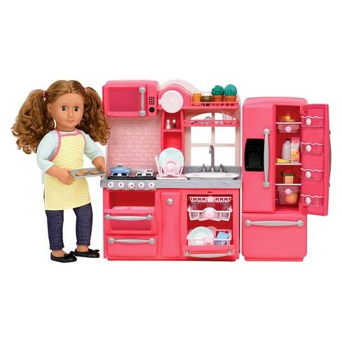 New Our Generation Pink Kitchen for 18 inch Dolls with Refrigerator Stove Sink