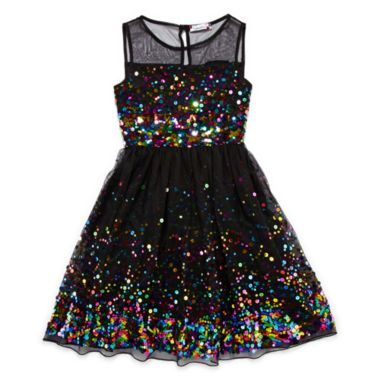 Speechless Sleeveless Multi-Sequin Dress - Girls 7-16  found at @JCPenney $43 Would be perfect for Social Leadership ball IF she wears a bolero and black (or colored) leggings. #mygirlissostinkingtall
