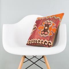Anatolian Multi Color Kilim Pillow Cover 16x16 5776 - kilimpillowstore  - 1
