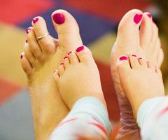 little painted toes.