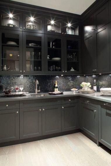 Kitchen d cor the best among the rest grey cabinets for Gray kitchen cabinets with black counter