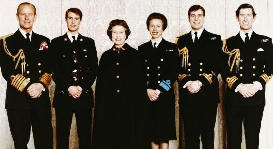 Prince Phillip, Edward, Queen Elizabeth II, Princess Anne, Prince Andrew, & Prince Charles.