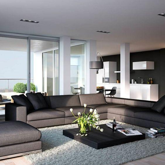 wohnzimmerteppich schwarz weiße streifen und grauessofa Wohnzimmer - wohnzimmer schwarz rot weiss