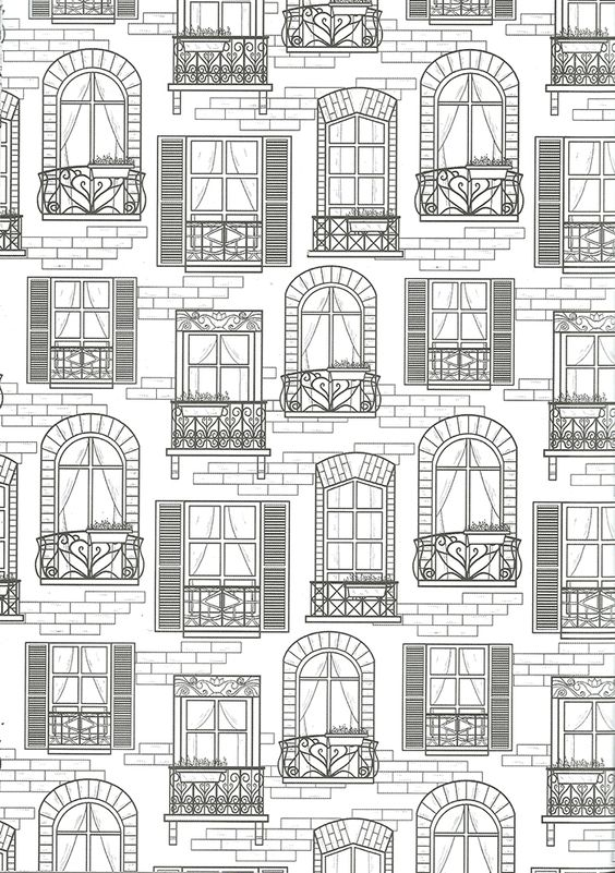 building coloring pages for adults - photo#8