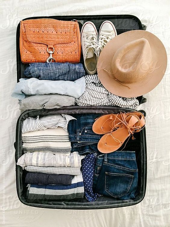 close up of clothes in suitcase ready for travel