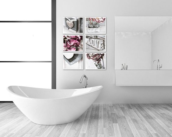 Bathroom decor set of 6 photographs bathroom art set for Pink and gray bathroom sets