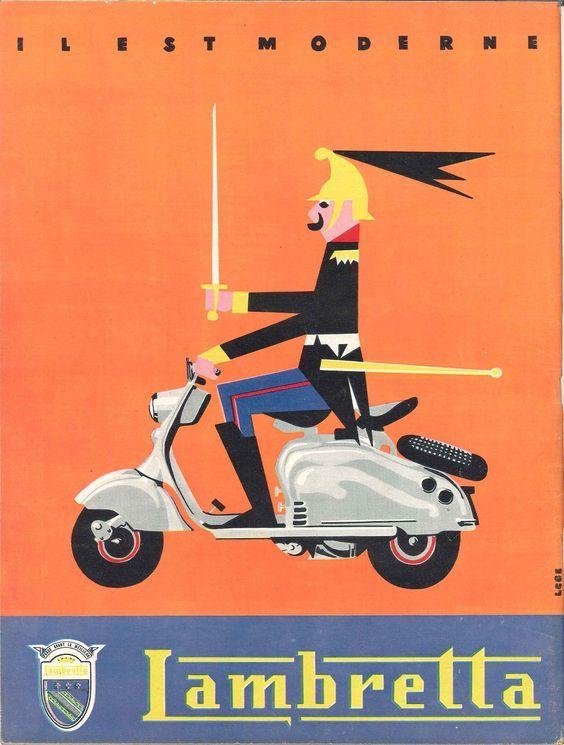 "('Il Est Moderne', ""Lambretta"")  - France Poster Advertising, ""Jours de France"", 28 avril (1956), Illustration by 'Cleg'.  ~  Original Vintage Advertising Poster."