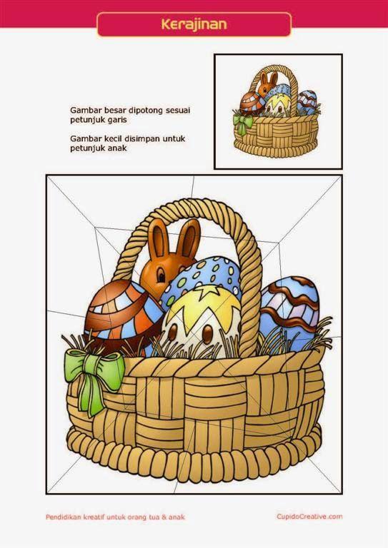 kerajinan gunting tempel PAUD (balita/TK) : buat sendiri puzzle paskah