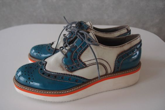 Emerson Renaldi Creepers Flats Brogues Made in Italy Gr.37 echt Leder
