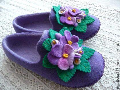 Обувь ручной работы. Ярмарка Мастеров - ручная работа. Купить Нежные лиловые. Handmade. Сиреневый, тапочки, подарок женщине