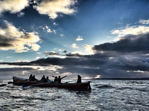 Bridport gig club out training at west bay tonight ready for Dartmouth regatta on Saturday