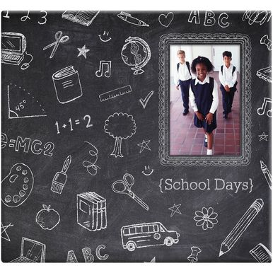 With its cool chalkboard design and a window on the cover to insert a favorite first-day-of-school pic, this scrapbook is the perfect place to capture school memories.  The post-bound design of the al