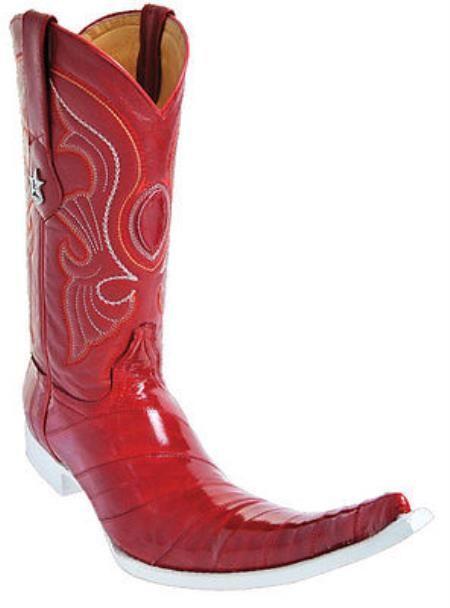 masculino Botas Occidentales Cuero de Anguila de Clásicos de Vaquero de Altos de Los 209 dólares Rojos Añejos que Montan a caballo