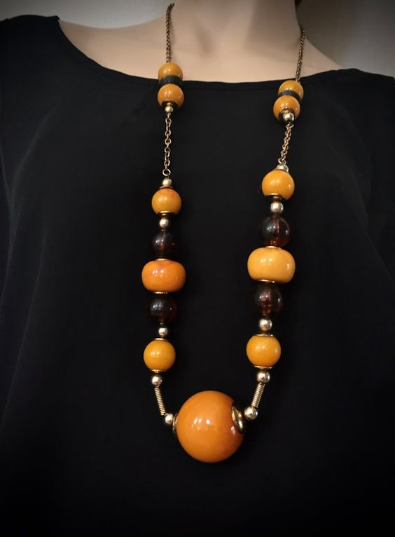 Art Deco-Long Boho Necklace-Large Glass Bead by mytimevintage