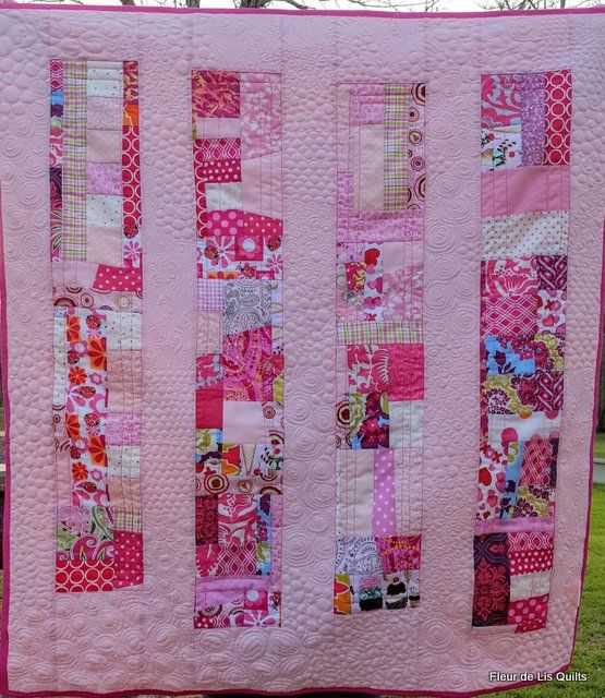 """Roseate"" scrap quilt in pink using Chinese coins pattern completed in Jan 2017"