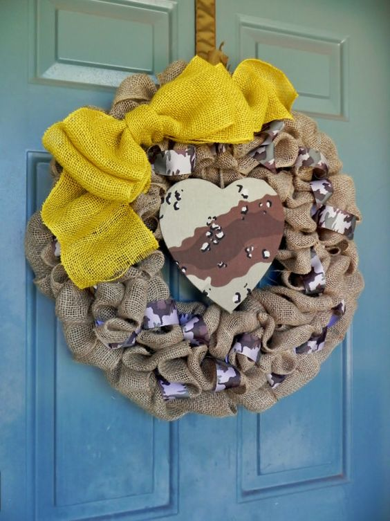 Burlap Wreath with Camo Accents and Yellow Bow by RedRobynLane