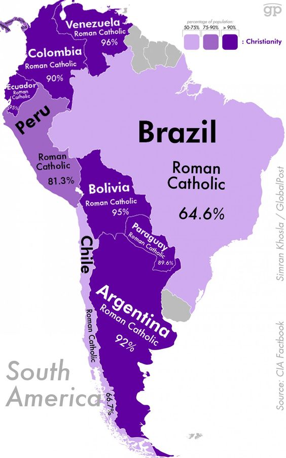 Most religious places in the world and what they're practicing--South America