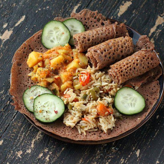 Injera - Ethiopian Flatbread with 100% Teff  Source: http://www.veganricha.com/2013/03/ethiopian-injera-100-teff-flatbread.html