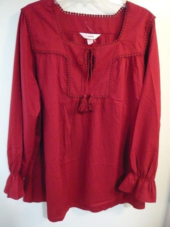 CACIQUE burgundy peasant Renaissance top blouse COSTUME - 4 PLUS SIZES - NEW #Cacique #Blouse #any