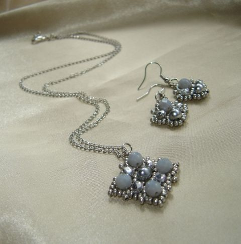 קבוצה אפורה כסופה שרשרת ועגיל, תכשיטים, סט תכשיטים, Meska