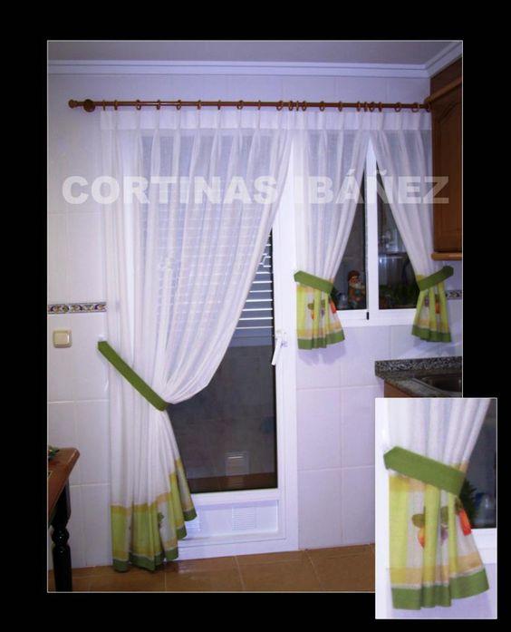 Cortinas en visillo de cocina con cenefa por el bajo - Cortinas con visillo ...