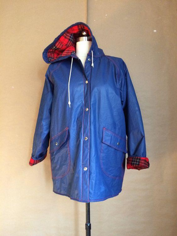 Vintage 80 S Hooded Raincoat Lined Jacket Navy Blue Vinyl Coat Tartan Liner Preppy 80 S Rain Gear Functional R Hooded Raincoat Line Jackets Outerwear