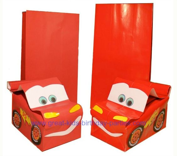 DIY Cars Lightning McQueen Party Favor Bags. These Are So