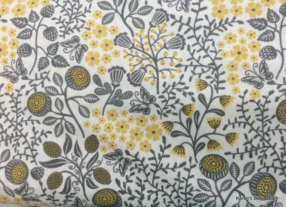 Curtains Ideas butterfly valance curtains : Gray Yellow Ivory Butterfly Floral Nature Inspired Custom Sewn ...