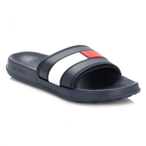 Tommy Hilfiger Mens Navy Slides Shoes Socks Pinterest