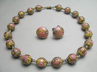 Vintage Italian Wedding Cake Fiorato Glass Bead Necklace Screw Back Earring Set
