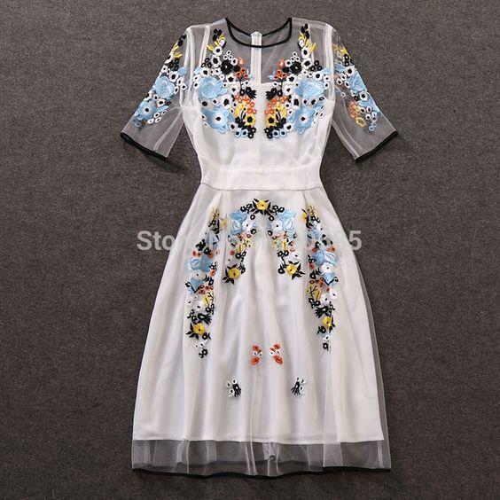 Envío Gratis 2016 Elegante Blanco O Cuello Media Manga Bordado Vestidos de Las Mujeres vestido de festa Vestidos de Estilo de la Marca de Malla Transparente en Vestidos de Ropa y Accesorios de las mujeres en AliExpress.com | Alibaba Group