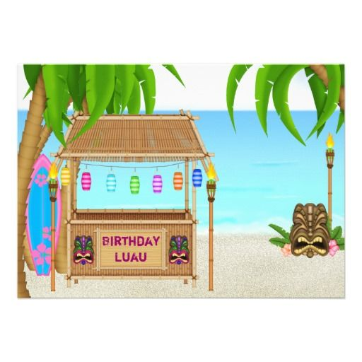 Personalized Luau Birthday Invitation for Girls