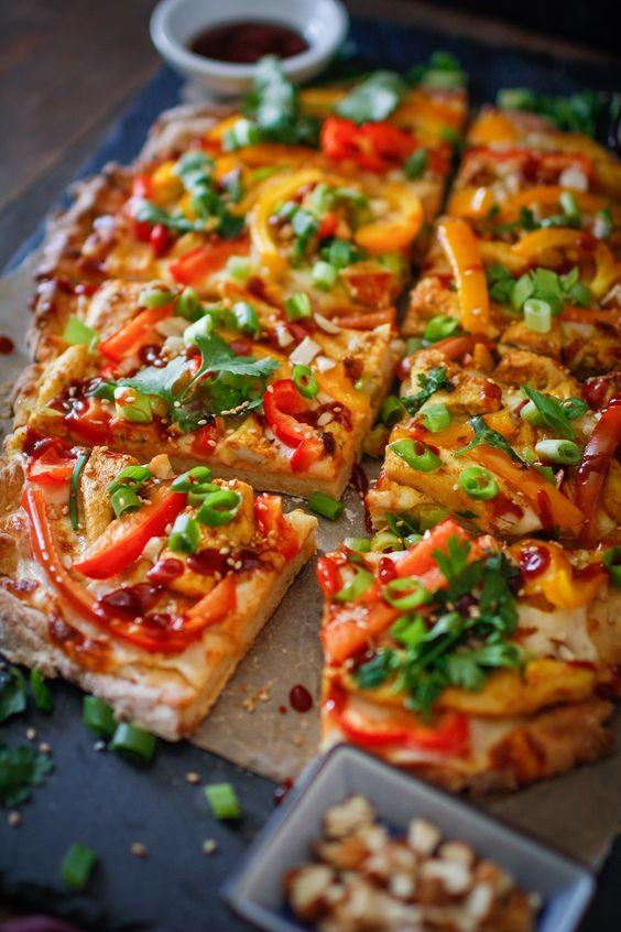 Thai BBQ Chicken Pizza   TheRoastedRoot.net #glutenfree #healthy