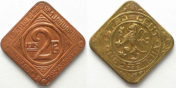 1915 Gent GENT 2 Franken 1915 J.614 ERHALTUNG! # 94682 vz+