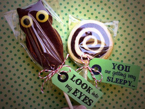 Owl & Hypnotic Wheel Cookie Pops #diy #recipe