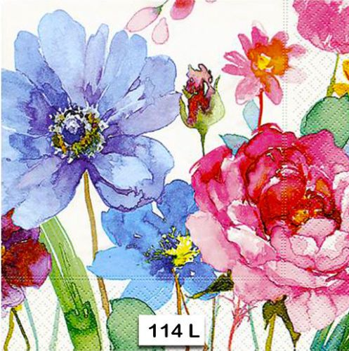 Two Individual Paper Luncheon Decoupage Napkins Watercolor 114 Flowers