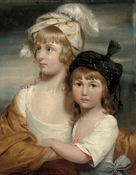 John Downman (1750-1824) —  Portret Sarah i Mary Emma Rigby, 1778  (750×961)
